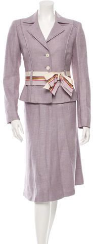 Purple and multicolor Carolina Herrera silk and linen tweed skirt suit. Skirt features tonal stitching and concealed zip closure at back. Women's Suits, Carolina Herrera, Skirt Suit, Suits For Women, Blazer, Stylish, Skirts, Jackets, Tops