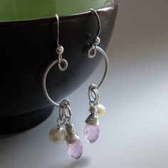 Freshwater Pearl and Rose Quartz Earrings  by NewMorningJewelry, $23.00