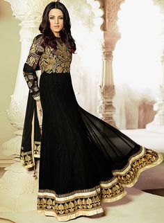 Black Embroidered Dress Material