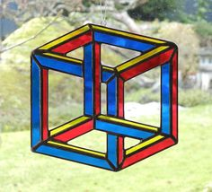 Stained Glass Impossible Cube Optical Illusion by ShatteredbyLight, $30.00