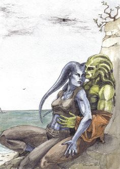 The finished painting of Aayla Secura and Kit Fisto in a very unJedi-like pose. The only real change I made was to even up Aayla's sleeves (can't stand uneven clothes). They're watercolour over pen...