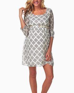 Pink Blush- White Print Belted Maternity Dress