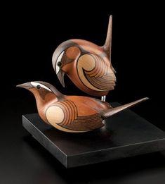 Bewick's Wrens by Rex Homan, Māori artist (KRX110403)