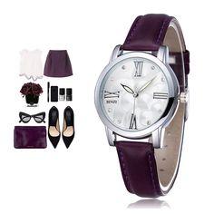 Luxury Brand Quartz  Watch women  Watches  Ladies 2016  Leather Fashion Dress Wristwatch 9 Colour Montre Femme Relogio Feminino