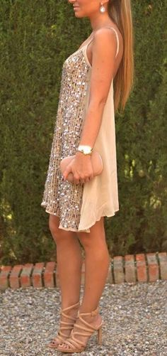 gold and nude sparkly loose fitting sleeveless dress + nude strappy heels