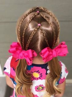 Today I did a fun elastic style! Split center ponies with braids down to curly piggies. Toddler hair ideas - All About Hairstyles Girls Hairdos, Lil Girl Hairstyles, Kids Braided Hairstyles, Princess Hairstyles, Pretty Hairstyles, Hairstyles Haircuts, Toddler Girls Hairstyles, Asian Hairstyles, Medium Hairstyle