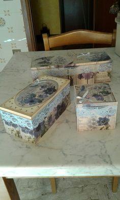 Scatole legno a decoupage