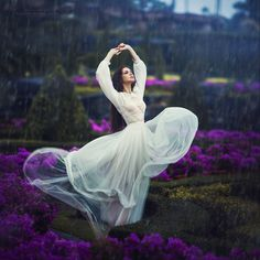 Girl, flowers, whimsical, flowing dress. Photograph tropical rain by Margarita Kareva on 500px