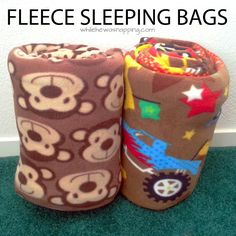 These Fleece Sleeping Bags are the PERFECT sleeping bag for summer.  Lightweight and warm, they are great for sleepovers and warm summer nights.  A great sewing project for intermediate sewists.