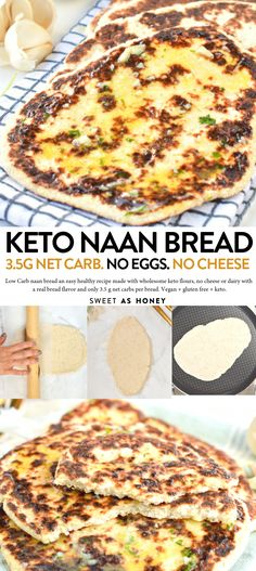 LOW CARB NAAN BREAD Only 3.5 g net carbs per bread. #ketodietrecipes
