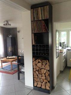 Regal für Kaminholz, Wein und Schallplatten