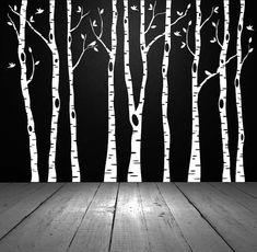 Birch, Aspen Trees with Birds  - Vinyl Sticker, Wall Decor, Wall Decal, Vinyl Decal, Office, Bedroom, Home Decor