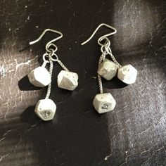 """NWOT Funky """"boulder"""" earrings Cool matte finish to these funky earrings. Very versatile. A little over an inch long without the hooks. Free if bundled with another item. Jewelry Earrings"""