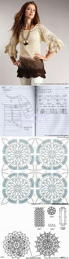 beside crochet: بترونات أزياء كروشية.crocheted dresses with patterns