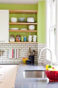 Open shelving in kitchen corner.