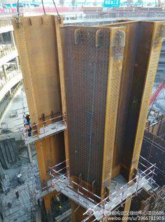 Steel-concrete composite supercolumn in Wuhan Greenland Center
