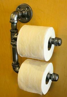 Industrial Double Toilet Paper Holder   Dark Steel