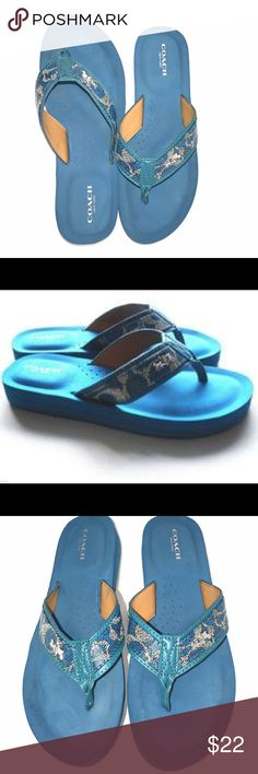 """Coach """"Judy"""" Flip Flops EUC 100% Authentic Coach Judy Blue Signature C Thong Flip Flops Sandals COLOR: /Blue PVC/Leather trim upper Easy slip-on construction Synthetic lining Lightly cushioned footbed Approximately 1"""" heel height Synthetic rubber outsole Women's Size 8B. EUC. Only sign of wear is on bottom of sole, (just regular light wear). BUNDLE this with one or more item(s) to take advantage of my 20% percent 💰DISCOUNT💰🎉! coach Shoes"""