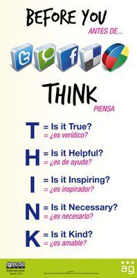 antes de.. piensa, infografía sobre las redes sociales
