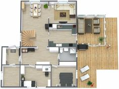 3D floor plan, aerial view of the main level of a two story home with basement.  Both interior & exterior elements shown, including wood deck, screened in porch, stairs to upper floor, and brand name furniture and decor items.  Even room for a hot tub.  Designed in RoomSketcher Business Edition by nonparel.  (Pier 1 Imports, KitchenAide, Ashley Furniture & IKEA).