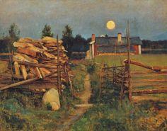 Eero Järnefelt - Kesäyön kuu (A Midsummer's Night Moon) Scandinavian Paintings, Scandinavian Art, Helene Schjerfbeck, Nocturne, Color Of Night, Chur, European Paintings, Paintings I Love, Summer Art