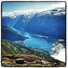 View over Aurland and Aurlandsfjorden Norway