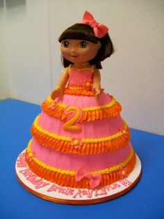 Festive Dora Cake @Andrea Quinn I think my mom used to have a cake pan to make a cake like this... Another possibility for Alexis?
