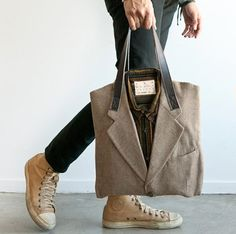 "All I was thinking while looking at the picture was ""DOCTOR WHO SHOES AND SUIT."" This bag is not just cool from a fashion point-of-view but an environmental one too! This amazing 100% upcycled suit tote from Poketo was made from a vintage wool suit, multicoloured corduroy shirt and reclaimed soft leather for the straps."