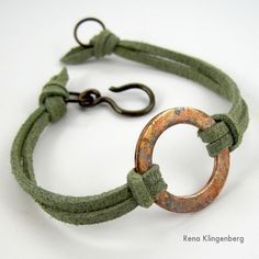 Rustic Copper Washer and Leather Bracelet Tutorial by Rena Klingenberg