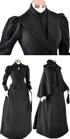 Walking ensemble ca. 1880s. Woolen jacket, skirt, cape. Snugly fitted, boned bodice with wide collar, high neck, front closure inside & out. Lapels and cuffs of low-lustre ribbed silk satin. Smooth-front skirt with pleated back. Skirt & cape lined. Cape has deep flounce at neckline of ribbed silk satin & black bow closure with long streamers. Maire McLeod/Ruby Lane