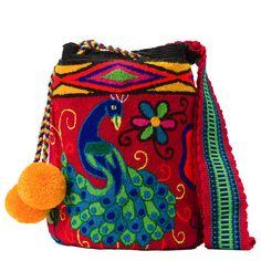 Tienda online de Bolsos Wayuu étnicos y artesanales en Madrid |Full Moonrise Tapestry Bag, Tapestry Crochet, Fabric Drawing, Crochet Woman, Crochet Purses, Cotton Bag, Macrame Chairs, Boho Gypsy, Handmade Bags
