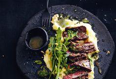 Zitronen-Rucola-Steak mit Erdäpfelpüree
