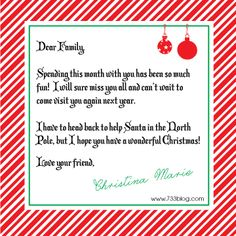Elf on the Shelf Goodbye Letter - Free Printable
