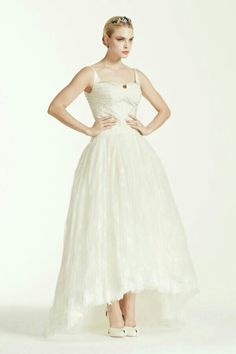 Sleeveless Lace Ankle Length High Low Bridal Ball Gown Featuring Square Neckline by Truly Zac Posen for David's Bridal
