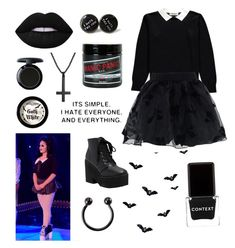 """goth kitty"" by sarcasticmisfortune ❤ liked on Polyvore featuring Chicwish, Manic Panic NYC, Context, Hot Topic, rpdr, rupaulsdragrace, bendelacreme and gothkitty"