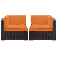 - Gather Corner Sectional Outdoor Patio Set of Two in Espresso Orange