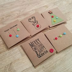 Pack of 5 cute handmade Christmas cards with buttons