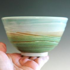 pottery bowl with a rainbow like effect