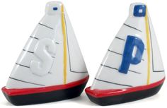 Make your table more fun with this set of Grant Howard salt and pepper shaker set. Designed to look like a pair of sailboats, this set is made of durable ceramic.