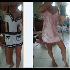A Set of 4 Night gowns/Lingerie+Stockings Red and black night gown/nightie/lingerie. A black nighie with a neck collar. An apron like black and white backless lingerie. White and pink nightie. Neon pink fishnet stockings. NO PINK SILKY GOWN! Intimates & Sleepwear