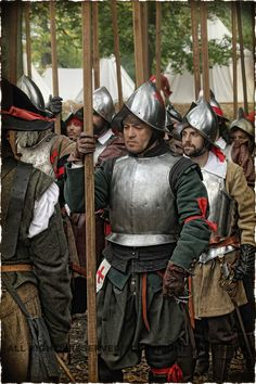 Spanish Tercios. You can make out the ragged red cross of Burgundy and St Andrew used as a recognition insignia by the tercios and also as a battle flag on land and sea. Double click on image to ENLARGE. Armadura Medieval, Conquistador, Medieval Armor, Medieval Fantasy, Larp, Renaissance, Thirty Years' War, Landsknecht, Fantasy Armor