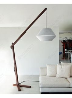 Gianluigi Landoni Oops Floor Lamp In White Cotton/White Macramè Lace With Body In Canaletto Walnut Wood Body Color By Contardi