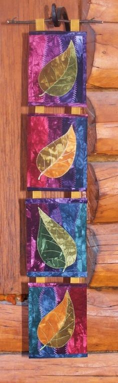 fabric cards, quilt card, four seasons quilts, fabric postcards, color, quilt leav, wallhang, card wall, fabric post cards
