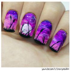 Easy Purple Landscape [Freehand Nail Art]
