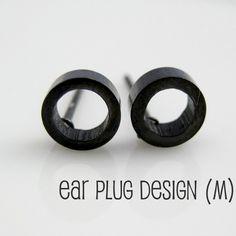 Mens Earrings Black Stud Earrings for Guys Look by 360Jewels, $16.00