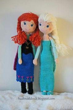 Haakpatroon. Crochetpattern. Anna en Elsa van Frozen.  Patroon verkrijgbaar via: haaknaaldenik.blogspot.nl