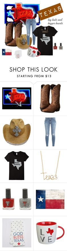 TEXAS on My Mind by scarebabygifts on Polyvore featuring Frame Denim, Laredo, By Philippe, Clay Art, Collins, texas and TX