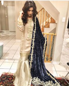 Image may contain: 1 person, standing Nikkah Dress, Shadi Dresses, Pakistani Formal Dresses, Pakistani Wedding Outfits, Pakistani Dress Design, Indian Dresses, Pakistani Gharara, Pakistani Clothing, Walima