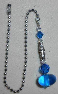 Ceiling Fan Pull Chain, Ceiling Fan Pulls, Beaded Purses, Beaded Jewelry, Mirror Ornaments, Fan Lamp, Light Pull, Cobalt Blue, Making Ideas