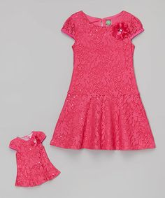 Another great find on #zulily! Fuchsia Lace Dress & Doll Dress - Toddler & Girls #zulilyfinds